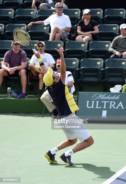 Horacio Zeballos of Argentina celebrates after defeating Yuichi Sugita of Japan during Day 4 of the BNP Paribas Open on March 8 2018 in Indian Wells...