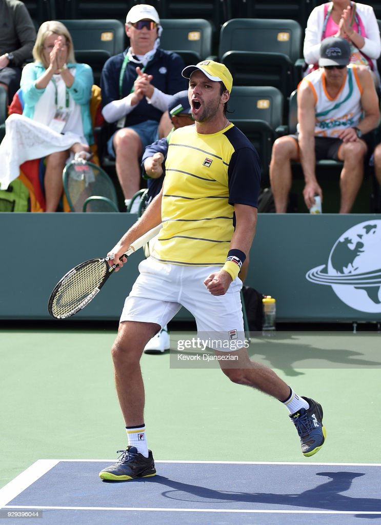 Horacio Zeballos of Argentina celebrates after defeating Yuichi Sugita of Japan during Day 4 of the BNP Paribas Open on March 8, 2018 in Indian Wells, California.