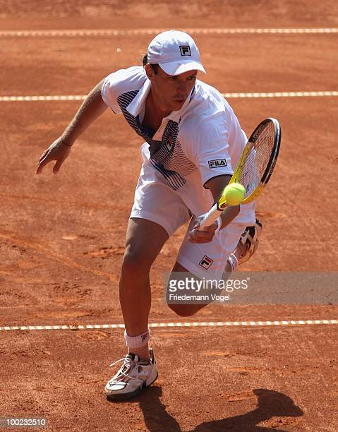 Horacio Zeballos of Argentina in action during his final match against Robby Ginepri of USA during day seven of the ARAG World Team Cup at the...