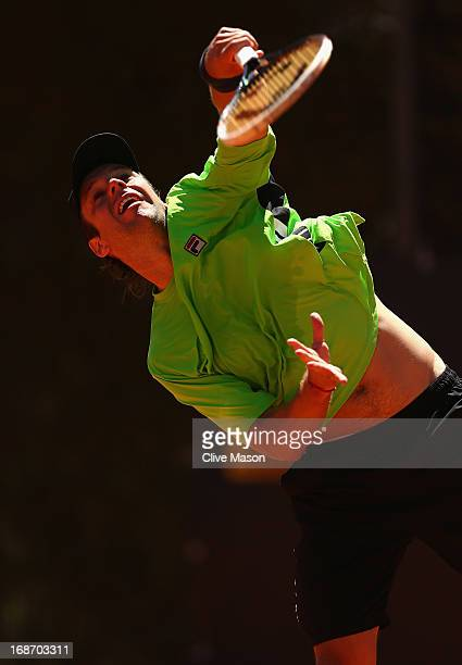 Horacio Zeballos of Argentina in action during his first round match against Fernando Verdasco of Spain during day three of the Internazionali BNL...
