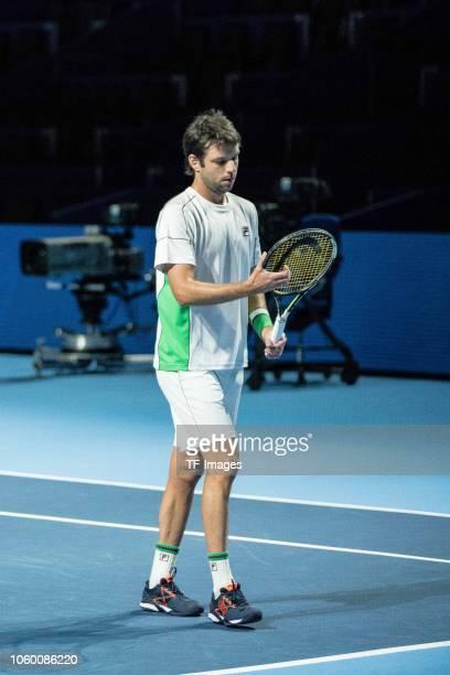 Horacio Zeballos of Argentina looks on during the Swiss Indoors Basel tennis match between Dominic Inglot/ Franko Skugor and Julio Peralta/ Horacio...