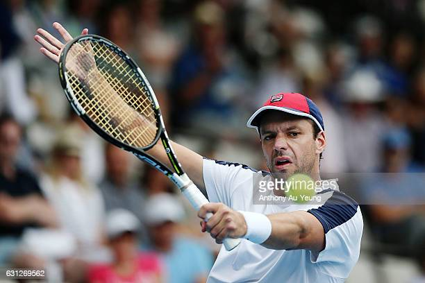 Horacio Zeballos of Argentina plays a backhand in his match against Jiri Vesely of Czech Republic on day eight of the ASB Classic on January 9 2017...