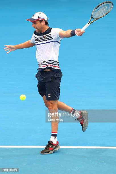 Horacio Zeballos of Argentina plays a backhand in his match against Alexandr Dolgopolov of Ukraine during day four of the 2018 Brisbane International...