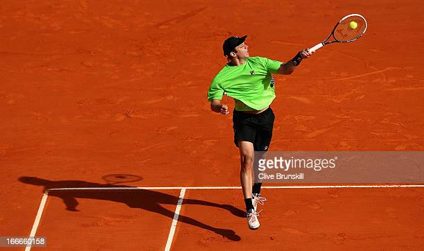 Horacio Zeballos of Argentina plays a forehand against Marin Cilic of Croatia in their first round match during day two of the ATP Monte Carlo...