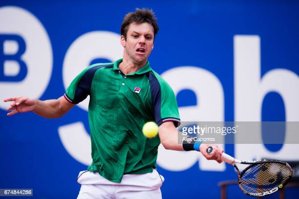 Horacio Zeballos of Argentina plays a forehand against Rafael Nadal of Spain in their semifinal match on day six of the Barcelona Open Banc Sabadell...