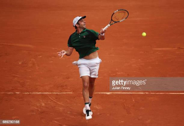 Horacio Zeballos of Argentina plays a forehand during the men's singles first round match against Adrian Mannarino of France on day one of the 2017...