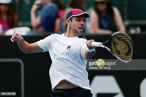 Horacio Zeballos of Argentina plays a forehand in his match against Jiri Vesely of Czech Republic on day eight of the ASB Classic on January 9 2017...