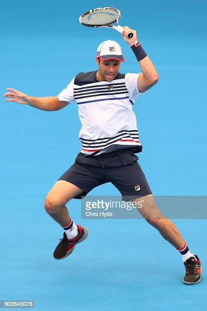Horacio Zeballos of Argentina plays a forehand in his match against Alexandr Dolgopolov of Ukraine during day four of the 2018 Brisbane International...