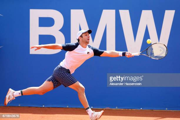 Horacio Zeballos of Argentina plays the ball at his firts round match against Andreas Seppi of Italy during the 102 BMW Open by FWU at Iphitos tennis...