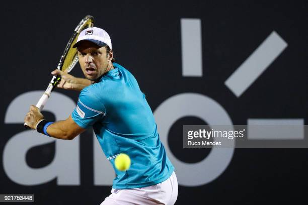 Horacio Zeballos of Argentina returns a shot to Gael Monfils of France during the ATP Rio Open 2018 at Jockey Club Brasileiro on February 20 2018 in...