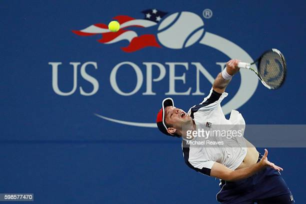 Horacio Zeballos of Argentina returns a shot to Nick Kyrgios of Australia during his second round Men's Singles match on Day Four of the 2016 US Open...