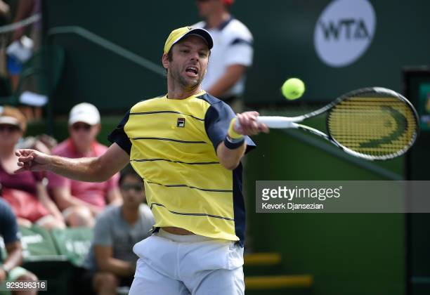 Horacio Zeballos of Argentina returns against Yuichi Sugita of Japan during Day 4 of the BNP Paribas Open on March 8 2018 in Indian Wells California