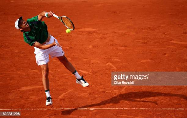 Horacio Zeballos of Argentina serves during the mens singles fourth round match against Dominic Thiem of Austria on day eight of the 2017 French Open...