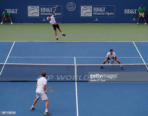Horacio Zeballos of Argentina serves to Johan Brunstrom and Andreas Siljestrom of Sweden during the finals of the BBT Atlanta Open at Atlantic...