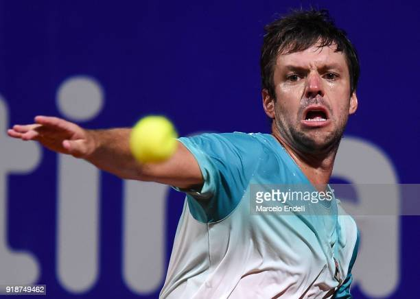 Horacio Zeballos of Argentina takes a forehand during a second round match between Dominic Thiem of Austria and Horacio Zeballos of Argentina as part...