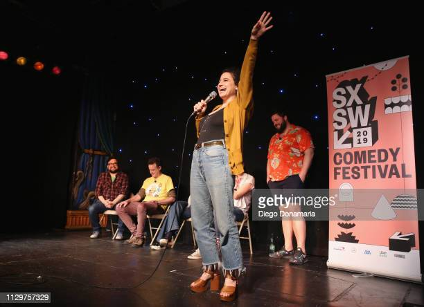 Horatio Sanz Matt Besser Ilana Glazer and Jon Gabrus speak onstage at Upright Citizens Brigade's ASSSSCAT during the 2019 SXSW Conference and...
