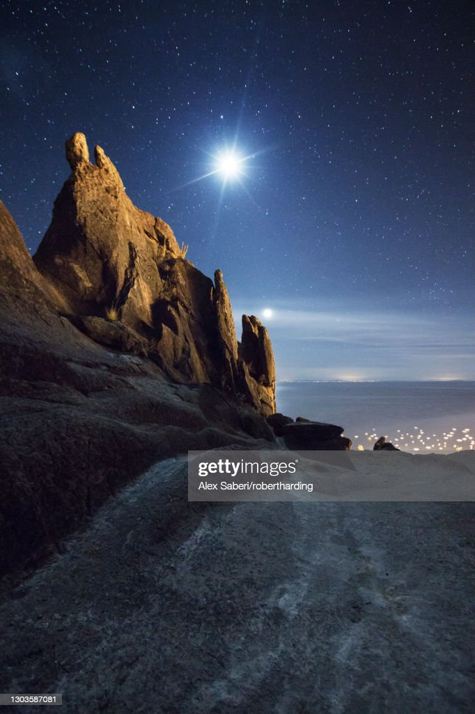 Horca del Inca ruins at night near Copacabana, La Paz Department, Bolivia, South America : Stock Photo