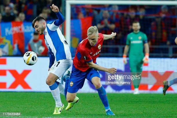 Hordur Magnusson of CSKA Moskva vies for the ball during the UEFA Europa League Group H match between CSKA Moskva and Espanyol at CSKA Arena in...