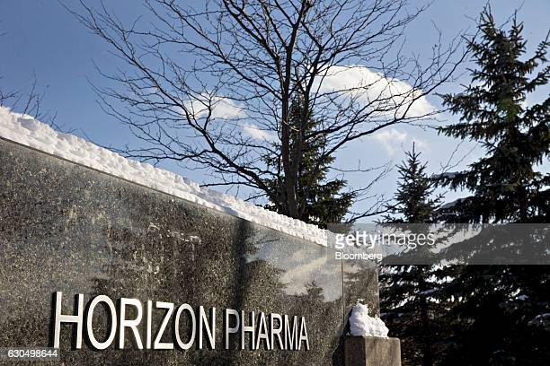Horizon Pharma Plc signage stands outside the company's office in Lake Forest Illinois US on Wednesday Dec 14 2016 Horizon Pharma rose 13 percent the...