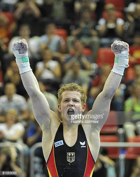 horizontal bar's world and european champion German Fabian Hambuechen reacts after competing on his favourite apparatus during the 28th European...