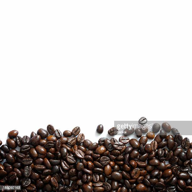 Horizontal border made of coffee beans isolated on white background