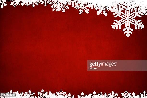 horizontal grungey red background with white snowflake border - snowflake background stock photos and pictures
