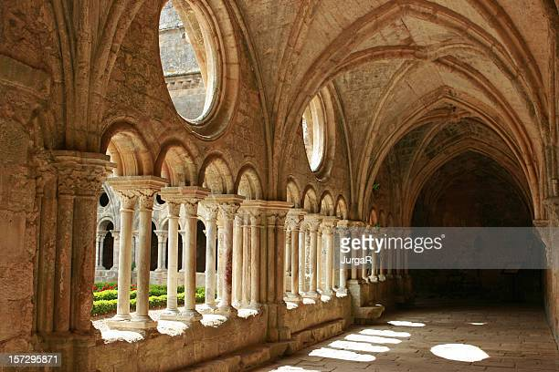 Horizontal image of medieval architecture with no activity
