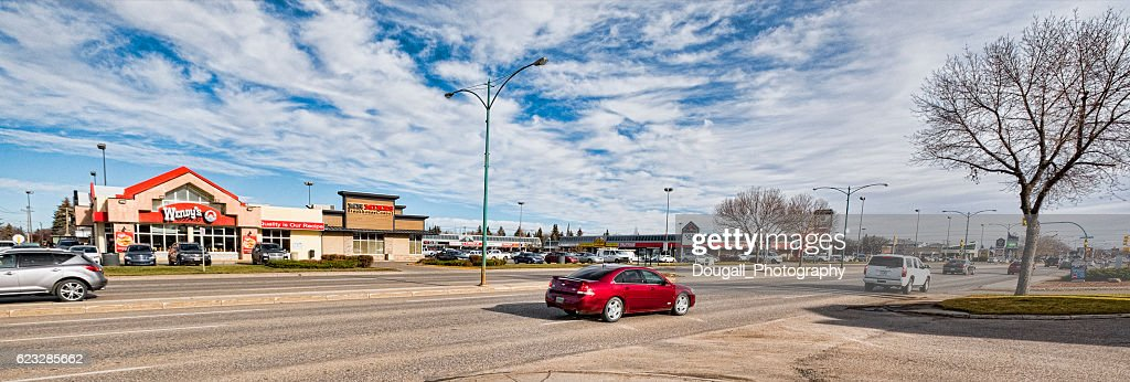 Horizontal Image of Saskatoon Along 8th Street : Stock Photo