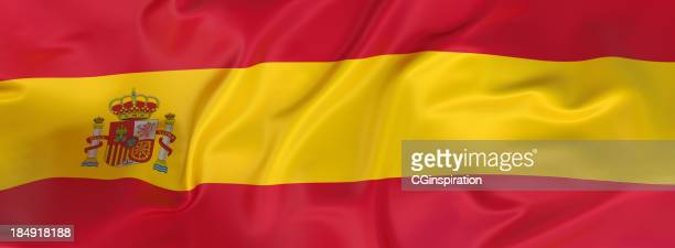 A horizontal layout of the flag of Spain