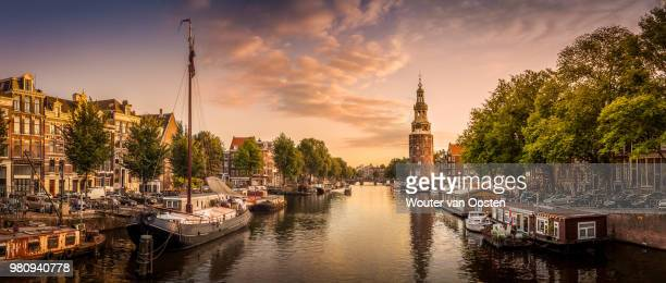 Horizontal panorama of city at sunset, Amsterdam, Netherlands
