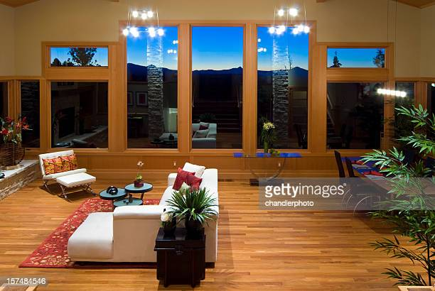 horizontal, sunset, modern asian living room - feng shui stock photos and pictures
