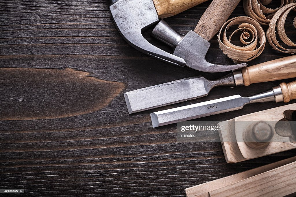 Horizontal version of planer hammer metal chisels wooden studs a : Stock Photo