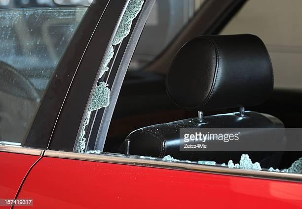 Horizontal view of broken car window
