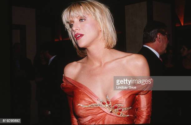 Horizontal view of Courtney Love as she arrives at the ACLU Torch of Liberty Dinner at the Century Plaza Hotel Los Angeles on May 21 1997 in Los...