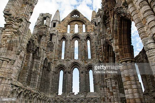 Horizontal View on Ruined Whitby Abbey in North Yorkshire England