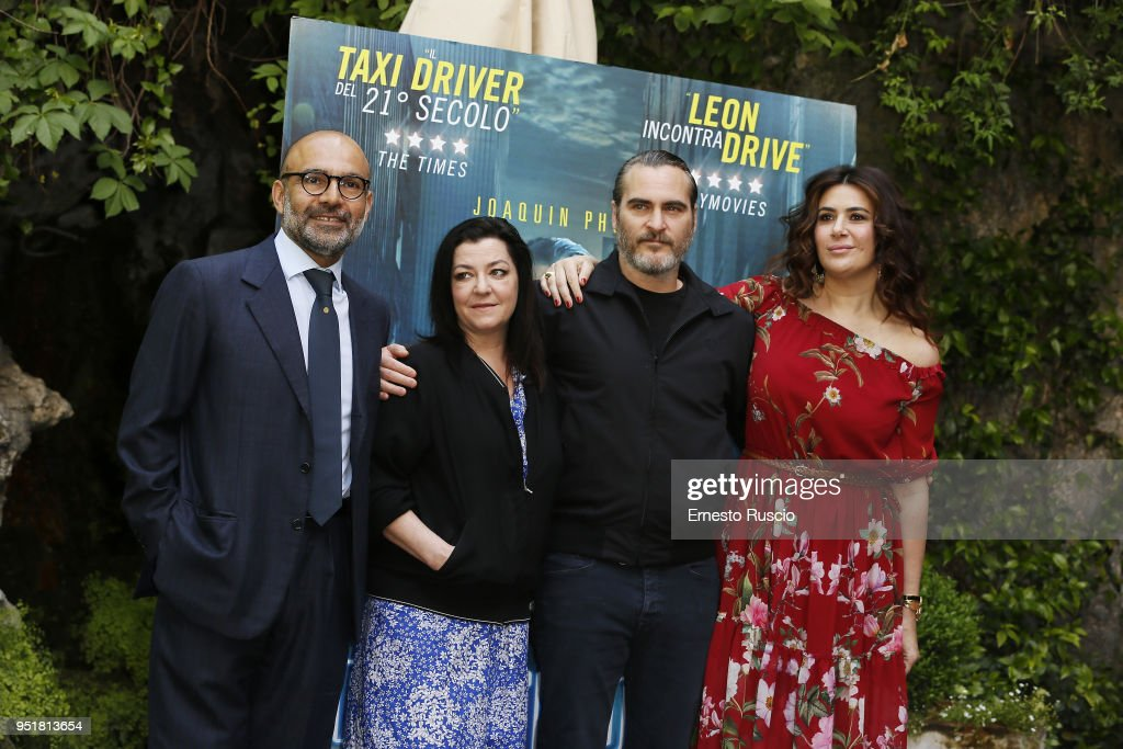 Hormoz Vasfi, director Lynne Ramsay, actor Joaquin Phoenix and Lucy De Crescenzo attend 'A Beautiful Day' photocall at Hotel De Russie on April 27, 2018 in Rome, Italy.