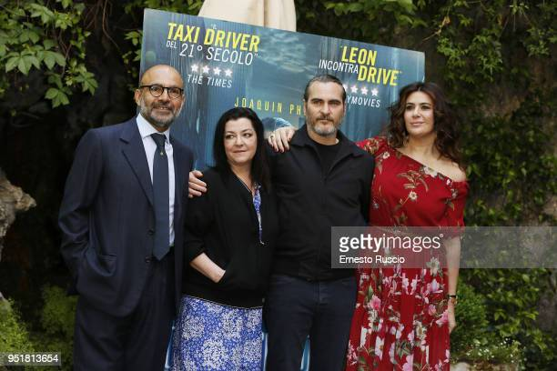 Hormoz Vasfi director Lynne Ramsay actor Joaquin Phoenix and Lucy De Crescenzo attend 'A Beautiful Day' photocall at Hotel De Russie on April 27 2018...