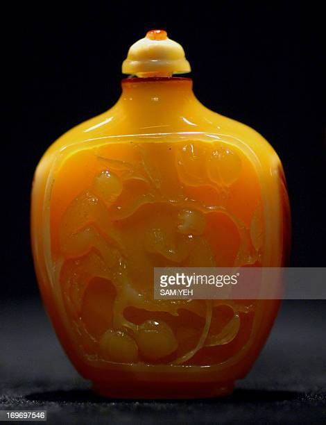 A hornbill snuff bottle is on display during an exhibition in Taipei on August 28 2008 The snuff bottle was used to contain powdered tobacco and the...
