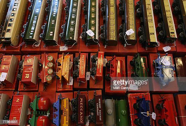 Hornby locomotives and carriages are displayed prior to the public view at the Chilcott School Saleroom Tiverton on October 17 2007 in Devon England...