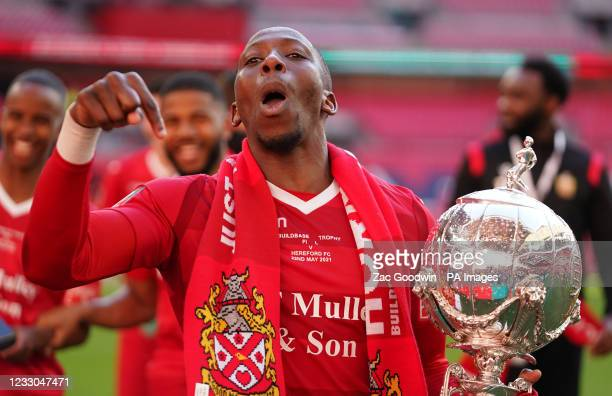 Hornchurh's Christopher Dickson celebrates with the trophy after the Buildbase FA Trophy 2020/21 Final at Wembley Stadium, London. Picture date:...