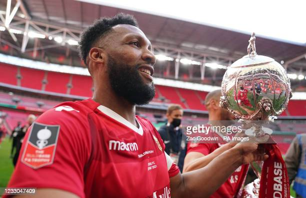 Hornchurh's Rickie Hayes celebrates with the trophy after the Buildbase FA Trophy 2020/21 Final at Wembley Stadium, London. Picture date: Saturday...