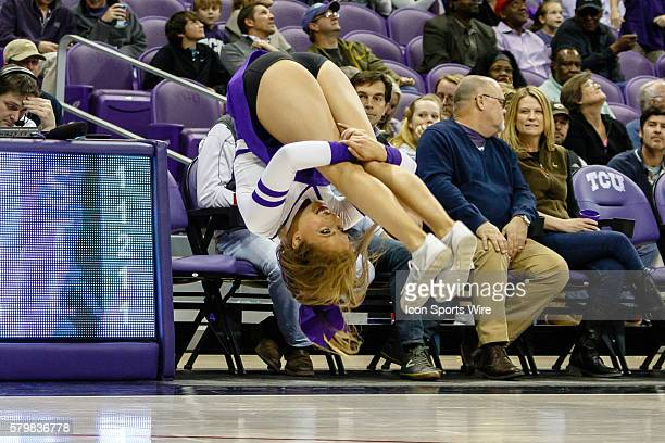 Horned Frogs Cheerleader performs during the NCAA Basketball game between the Oklahoma State Cowboys and TCU Horned Frogs played at Ed Rae...