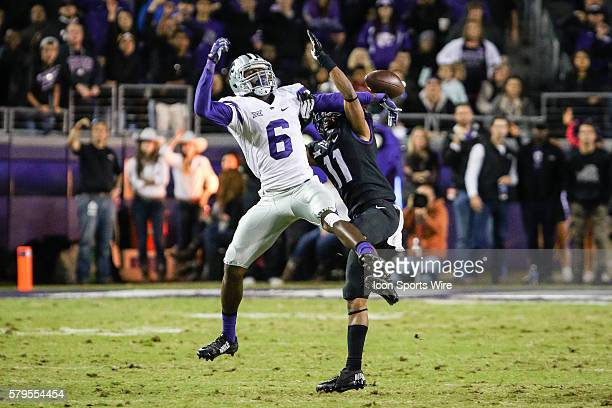 Horned Frogs cornerback Ranthony Texada breaks up a pass to Kansas State Wildcats wide receiver Deante Burton during the NCAA Big 12 football game...