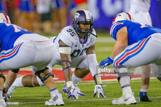 Horned Frogs defensive tackle Terrell Cooper lines up in a four point stance during the football game between the TCU Horned Frogs and SMU Mustangs...