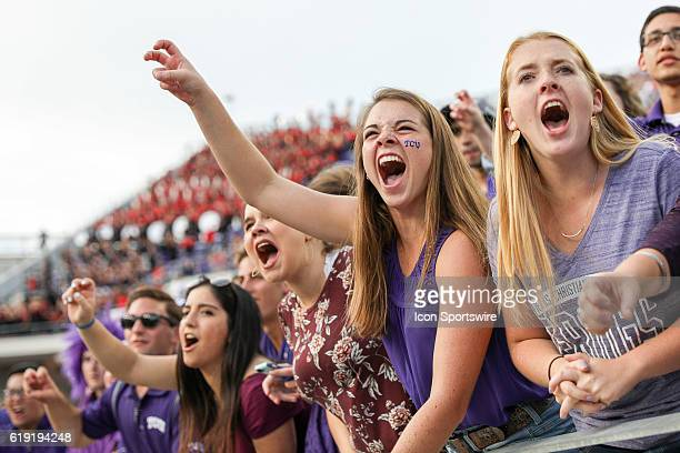 Horned Frogs fan cheers during the NCAA Big12 football game between the Texas Tech Red Raiders and the TCU Horned Frogs on October 29 at Amon G...