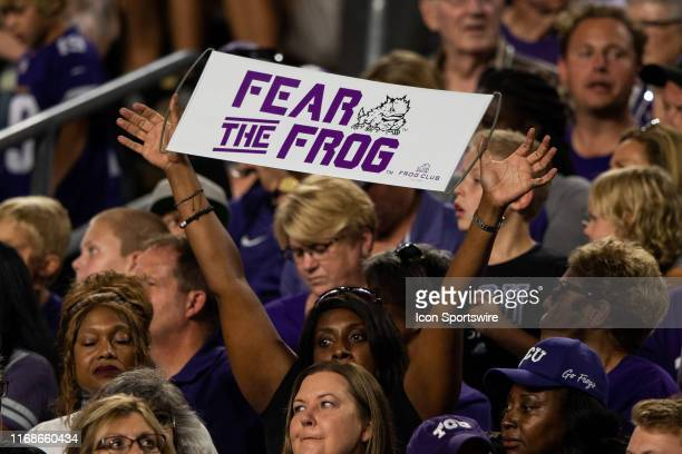 Horned Frogs fan holds up a Fear the Frog sign during the college football game between the Purdue Boilermakers and TCU Horned Frogs on September 14...