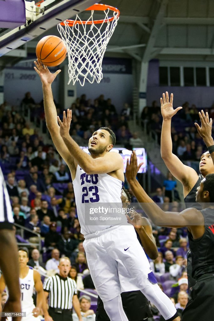 TCU Horned Frogs forward Ahmed Hamdy-Mohamed (23) makes a move to the basket during the game between the SMU Mustangs and TCU Horned Frogs on December 5, 2017 at Ed & Rae Schollmaier Arena in Fort Worth, TX.