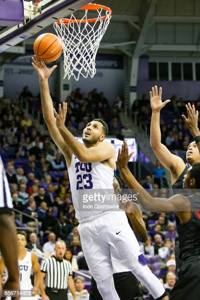 Horned Frogs forward Ahmed HamdyMohamed makes a move to the basket during the game between the SMU Mustangs and TCU Horned Frogs on December 5 2017...