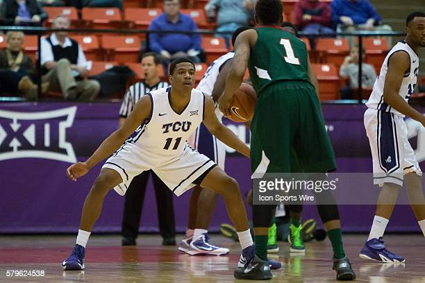 Horned Frogs forward Brandon Parrish guards Mississippi Valley State Delta Devils guard DeAngelo Priar during the NCAA basketball game between the...