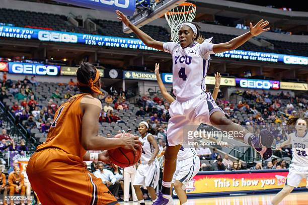 Horned Frogs forward Chelsea Prince guards the inbounds pass from Texas Longhorns guard Empress Davenport during the NCAA Big 12 Women's basketball...